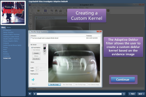 video investigator tutorial for debluring with custom kernel adaptive deblur